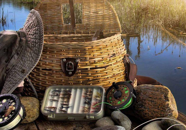 Fly fishing gear on a dock