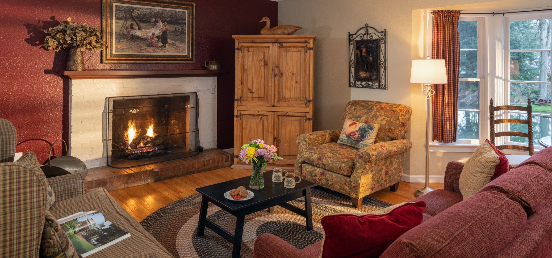 Sunrise Suite sitting area with fireplace