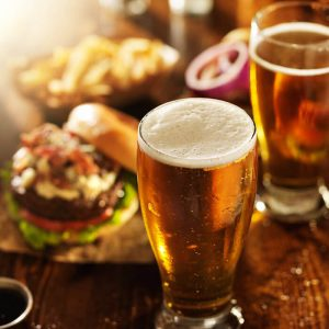 Beers and burgers at a restaurant