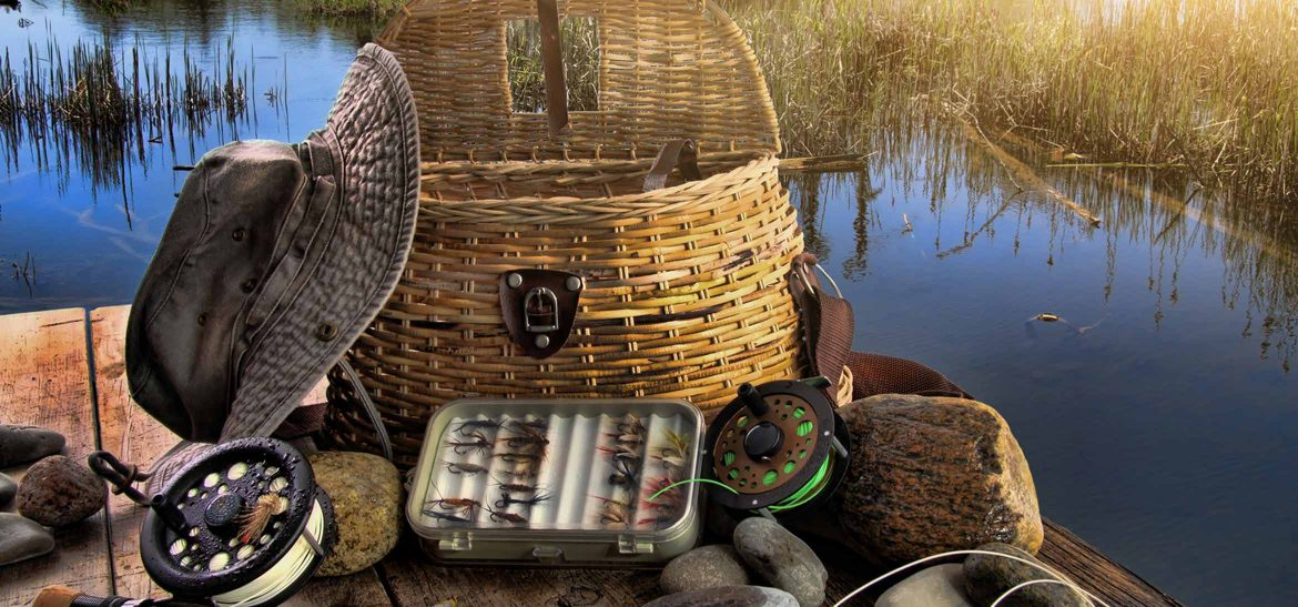Fly fishing gear on a dock