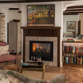 Vineyard Suite sitting area with fireplace