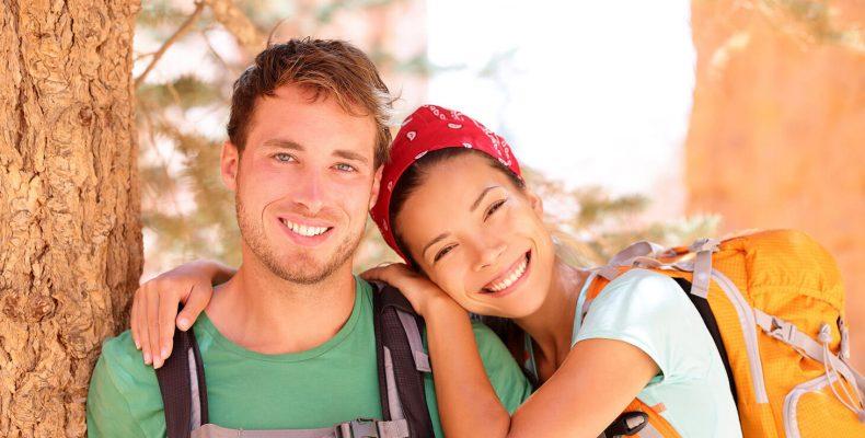 Happy hiker couple