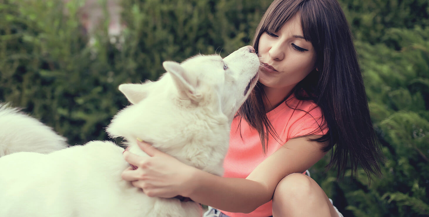 Girl with white husky dog