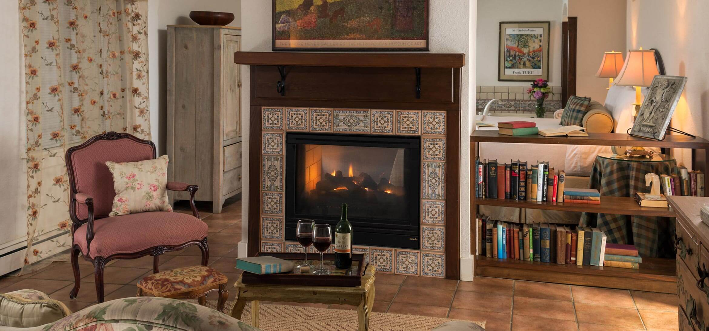 Vineyard Suite fireplace