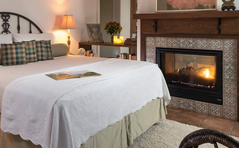 Vineyard Suite bed and fireplace