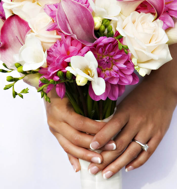 Close up of a bride holding her bouquet