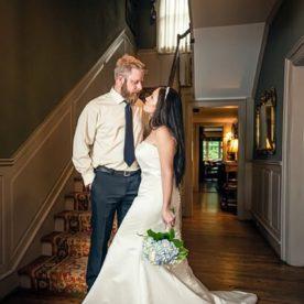 Bride and groom inside our Waynesville, NC wedding venue